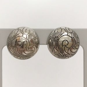 • Vintage • Engraved Button Earrings